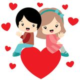 Boy and girl sitting on a heart valentine day card. Vector illustration of a boy and a girl sitting on a big heart waving. All elements are grouped together and vector illustration