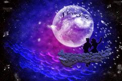 Boy and girl sitting in the moonlight on cloud. Young beautiful couple  in the moonlight. Romantic love Royalty Free Stock Image