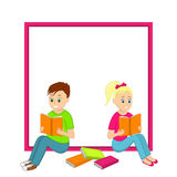 Boy and girl sitting reading a book and frame Royalty Free Stock Image