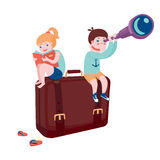 Boy and girl sitting on suitcase. Beginning of adventures, boy and girl sitting on suitcase with book and telescope stock illustration