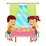 Boy and girl are sitting at the table and eating. Kids, boy and girl are sitting at the table and eating,illustration,vector Royalty Free Stock Image