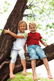 Boy and girl sitting on a tree Royalty Free Stock Photography