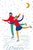 Boy and girl skating. Sweethearts boy and girl skating in the winter under the snow under the moon. Vector card Royalty Free Stock Images