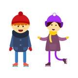Boy and girl skating vector. Stock Image