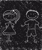 Boy and girl sketch Royalty Free Stock Photos