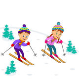 Boy and girl on skiing Royalty Free Stock Image