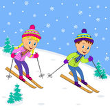 Boy and girl on skiing Royalty Free Stock Photo