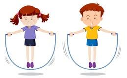 Boy and girl skipping. Illustration stock illustration