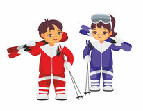 Boy and girl with skis Royalty Free Stock Images