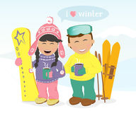 Boy and girl with skis and snowboard drinking coffee. Royalty Free Stock Images