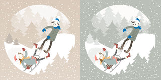 Boy and girl sledding in winter forest Stock Photography