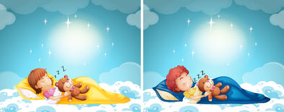 Boy and girl sleeping in bed Stock Images