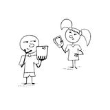 Boy and girl with smartphones Stock Images