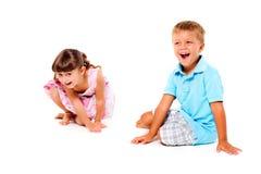 Boy and girl smiling Stock Photos