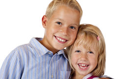 Boy and girl are smiling happy into camera Stock Photo
