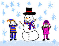 Boy & girl with snowman drawing. Child's drawing of fun building a snowman Royalty Free Stock Photo