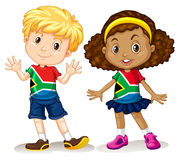 Boy and girl from South Africa. Illustration Royalty Free Stock Photography