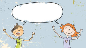 Boy and girl with speech balloon stock illustration