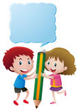 Boy and girl with speech bubble Stock Images
