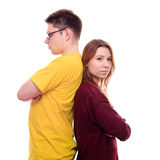 Boy and Girl Stand Back to Back Stock Images