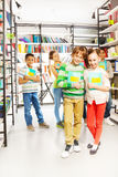 Boy with girl stand near and other kids behind Royalty Free Stock Photo