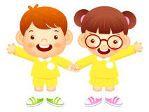Boy and girl is standing affectionately press hands. Education a Royalty Free Stock Photos