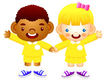 Boy and girl is standing affectionately press hands. Education a Stock Image