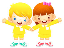 Boy and girl is standing affectionately press hands. Education a Stock Photos