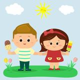 A boy and a girl are standing in a clearing and holding ice cream in their hands. Against the background of a clearing vector illustration