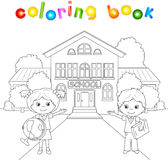 Boy and girl standing near the school building in a schoolyard. Vector illustration for children. Coloring book Royalty Free Stock Photo