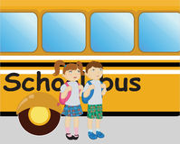Boy and girl standing near the school bus. Vector illustration of little boy and girl standing near the school bus Stock Photo