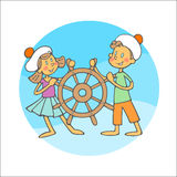 Boy and girl with steering wheel Royalty Free Stock Photos