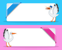 Boy and Girl Stork Banners with Ribbon Stock Image