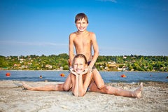 Boy and Girl on  Strand beach in Novi Sad, Serbia. Stock Photo
