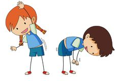 Boy and girl stretching Stock Image