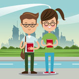Boy and girl student nerd urban background Royalty Free Stock Photography