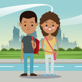 Boy and girl students multiethnic urban background Royalty Free Stock Image