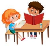 Boy and girl study. Illustration vector illustration