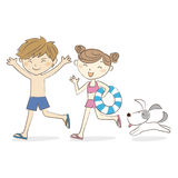 Boy and girl in suimsuits running together with dog vector illustration