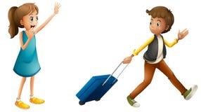 Boy, girl and suitcase Stock Photos