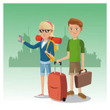 Boy and girl suitcase rucksack smartphone glasses traveler urban background Stock Photo