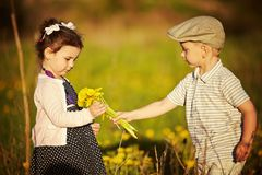 Boy and girl in summer field Royalty Free Stock Photography