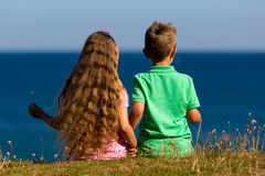Boy and girl during summer time Stock Image