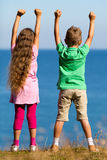 Boy and girl during summer time. Young caucasian kids in Denmark on a summer day Stock Photography