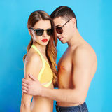 Boy and girl in sunglasses together. Lovely beautiful couple portrait.romantic women and handsome man.boy and girl in sunglasses together.summer Royalty Free Stock Photography