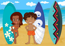 A boy and girl with surf pad. Illustration of a boy and girl with surf pad on a sea shore Stock Photography