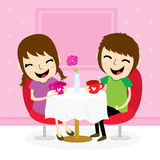 Boy and girl sweetheart meeting at shop cute cartoon vector. Boy and girl sweetheart meeting at shop cute cartoon Design vector Stock Photography