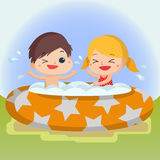 Boy and girl in swimming pool Mascot cartoon great for any use. Vector EPS10. Stock Photo