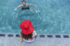 Boy Girl Swimming Pool Royalty Free Stock Image