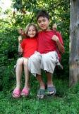Boy and girl on swing stock photo